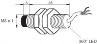 Kovový indukční snímač, délka 33 mm