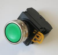 Zelené YW tlačítko s kovovým kroužkem
